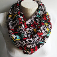 Minnie Mouse Scarf,  Minnie Mouse Printed İnfinity Scarf, Burgundy İnfinity Scarf