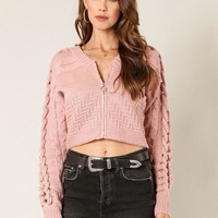 Switch To Cable Crop Sweater in Mauve