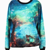 Green Galaxy Printed Sweatshirt