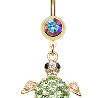 Golden Colored Sea Turtle Belly Button Ring