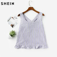 SHEIN Bow Back Ruffle Trim Striped Pinafore Top Cute Women Blouses Summer 2017 Scoop Neck Sleeveless Casual Blouse
