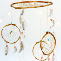 Pink & Turquoise Dreamcatcher Mobile - Pink | White | Navy Dreamcatcher Mobile Boho Bohemian Baby Mobile Crib Nursery Baby Girl Baby boy