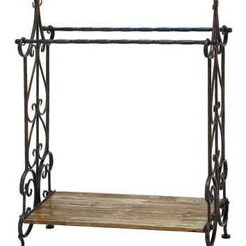 Traditional Wooden And Metal Towel Rack In Black Finish