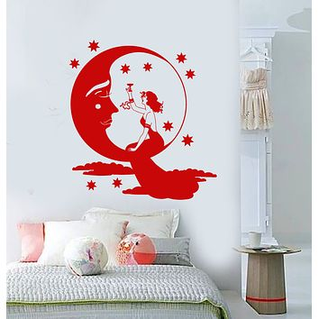 Vinyl Wall Decal Fairy tale Moon Face Stars Lady With Glass Of Champagne Stickers (3272ig)