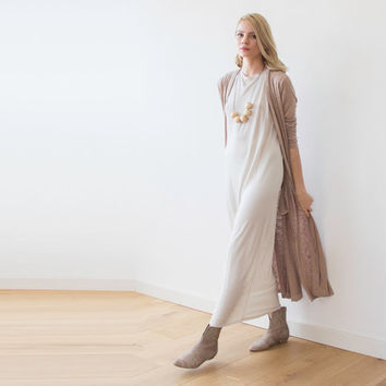 Beige Maxi Knitted Cardigan, Maxi Coatigan, Brown cardigan , Longline Cardigan, Long sleeves cardigan