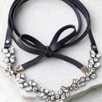 Telekinetic Black Rhinestone Wrap Necklace