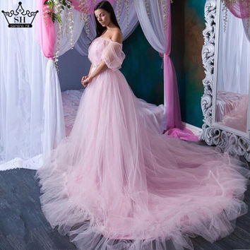 Romantic Pink Long Train Pregnant Photography Wedding Dress Bridal Gown Ruffles Wedding Dresses Plus Size Photo Dress 2017 SHE2