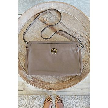 Vintage Leather  Chic Taupe Bag