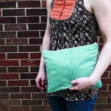 Mint Green Clutch Purse - Handmade Vegan Suede Pouch - Bridesmaid Clutches