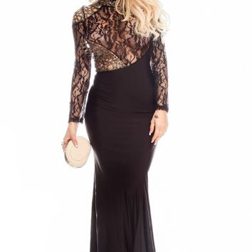BLACK FLORAL LACE ROUND NECKLINE LONG SLEEVES MAXI DRESS