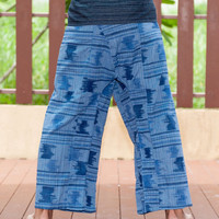 Thai Fisherman Pants Printed Cotton Wrap-around Hippie Yoga Martial Art Trousers (Blue)