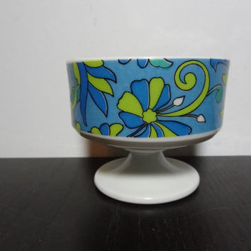 Vintage Groovy Retro Green and Blue Floral Ceramic Pedestal Ice Cream/Dessert Dish/Bowl