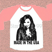 Made In The USA Demi Lovato Shirt Demi Lovato TShirt Rock TShirt Pink Sleeve Long Sleeve Women Shirt Unisex Shirt Baseball TShirt Size S,M,L