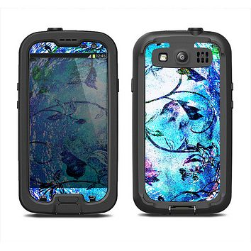 The Black & Bright Color Floral Pastel Samsung Galaxy S4 LifeProof Fre Case Skin Set