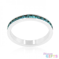 Stylish Stackables With Turquoise Crystal Ring (size: 06)