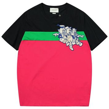 GUCCI 2019 new three pig color matching round neck half sleeve T-shirt