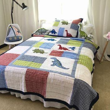 Kids Bedspread Quilt Set 2pcs Coverlet Quilted Bed Covers Washed Cotton Dinosaur Embroidered Quilts Cover Twin Size Boys Bedding