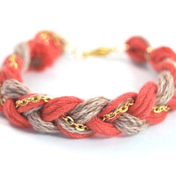 Friendship bracelet, orange and beige braid bracelet with gold plated chain