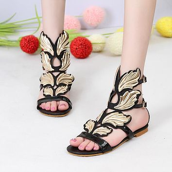 New summer fashion sexy Personality wings women sandals buckle casual Gladiator Ankle Strap flat shoes woman