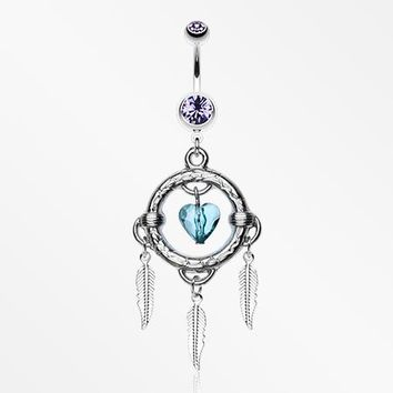 Heart Hoop Feather Dream Catcher Belly Ring