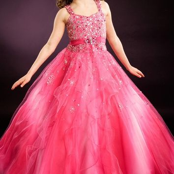 2016 Children Glitz Girls Pageant Dresses Beading Princess Blush Floor Length Girls Pageant Dresses For Kids