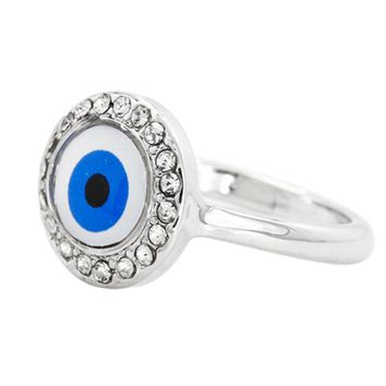 Rhodium Plated Clear Crystal Turkish Nazar Greek Evil Eye Ring