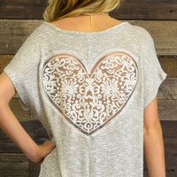 Such A Sweet Heart Crochet Heart Back Gold Sweater