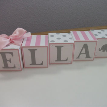 Wooden Name Blocks, Baby Name Blocks, Baby Girl, Newborn, Pink, Gray, Baby Blocks, Nursery, Baby Shower, Elephants