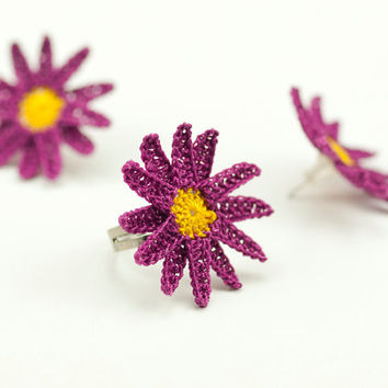 Daisy Post Earrings  - Crochet Lace Earrings - Pink Yellow - Fiber Art Jewelry - Lightweight