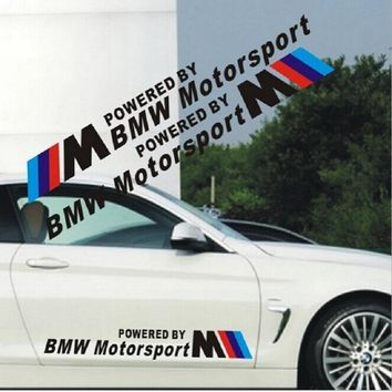 2pcs/lot Free shipping 58*7cm personalized Powered by motorsport sticker for BMW car door stickers Car Styling two colorway