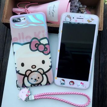 Smooth blu-ray case For iPhone X 8 7 6 6s plus & screen protertor for iPhone X /10 cover hello kitty color film + love strap