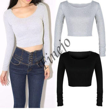 2014 New European Women Ladies Long Sleeve Crop Top Round Neck T Shirt  SV007658 = 1902370948