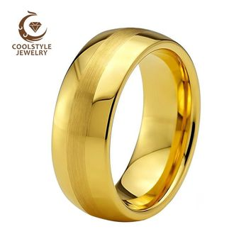 8mm Yellow gold Color Brushed Center Domed Tungsten Men Ring Wedding Band Comfort Fit