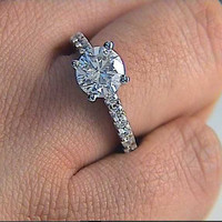 1.78ct D-VS2 Platinum Round Diamond Engagement Ring 900,000 GIA Certified JEWELFORME BLUE