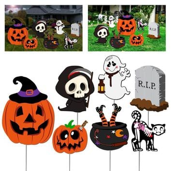 7Pcs Tombstone Ghost Scary Skeleton Ghost Outdoor Cat Pumpkin Yard Stakes Set Practical Horrible Durable Lawn Decorations