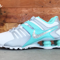 Nike Shox Current + Swarovski Crystal Swoosh - White/Teal