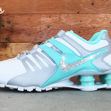 low price nike shox current swarovski crystal swoosh white teal 1092c dcbbe 3aaf504f35