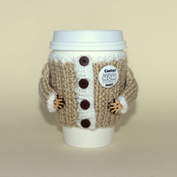 Mother's Day coffee cozy. Travel mug cozy. Coolest mom ever. Starbucks cup sleeve. Mug hug jacket. Hand knit.  Beige white. Eco-friendly.