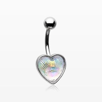 Iridescent Heart Shell Sparkle Belly Button Ring