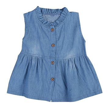 NEW Arrivals Toddler Kids Baby Girls Clothes Denim Princess Sleeveless Dress Newborn Girls Cute Solid Summer Dresses