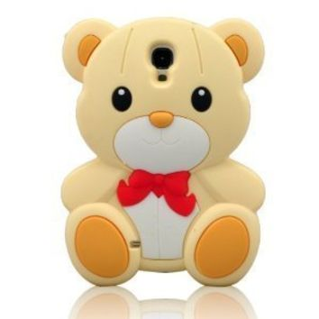 I Need (TM) 3d Stylish Teddy Bear Soft Silicone Case Cover Compatible for Samsung Galaxy S4 I9500(Yellow)