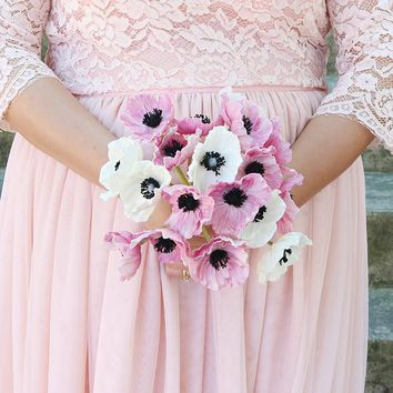 """Real Touch Fake Wedding Bouquet with White and Pink Poppies- 12"""" Tall"""