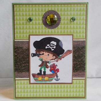 Pirate Card, Paper Handmade Greeting Card, Little Boy, Green and Brown, At Sea
