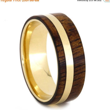 Holiday Sale 10% Off Men or Womens 14k Yellow Gold Wedding Band, Koa Wood Ring with Gold Pinstripe and Sleeve