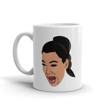 Kim Kardashian Crying West Selfie Mirror Portrait Coffee Mug - Kim K Kylie Kanye Wife Yeezy Yeezus