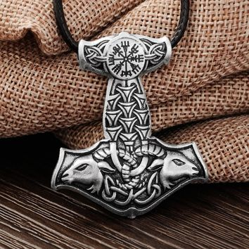 1pcs Norse Vikings Amulet PENDANT Necklace Goat Thor's Hammer Pendant Necklace Original Animal Knot Viking Jewelry