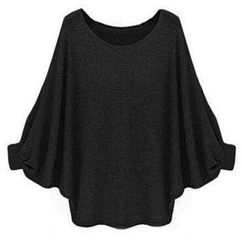 Batwing Sleeve O-Neck Solid Black Knitting Loose Blouse Women New Fashion 2016 Autumn Casual Blouse Khaki Fall Blouse For Women