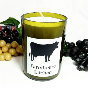 Wine Bottle Candle/Cow Farmhouse Kitchen Soy Wax Candle/Recycled Glass Bottle Candle/Pumpkin Pie Spice Scent/Country Farm Chic Decor