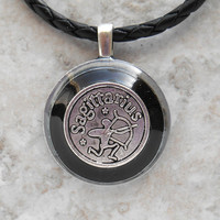 sagittarius necklace: black - mens necklace - man jewelry - astrology - boyfriend gift - zodiac - birthday gift - leather cord - unique gift
