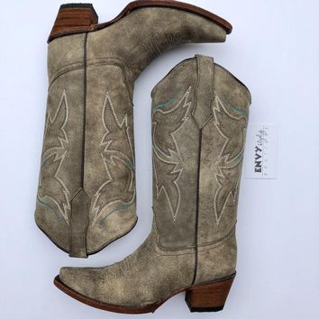Corral Women's Leather Snip Toe Western Boots Olive
